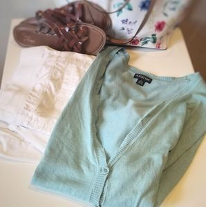 August Max Lush Palm 3/4 Sleeve Cardigan